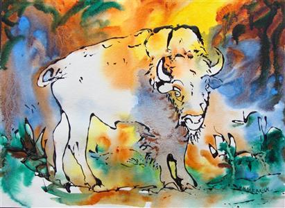 Young Male Buffalo on Woodland Farm