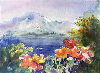 Poppies on Lake Geneva