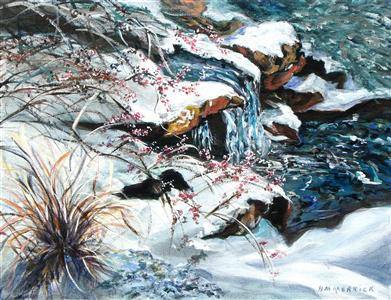 Icy Waterfall with Winter Berries - Large Canvas