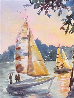 Evening Sailboat Regatta